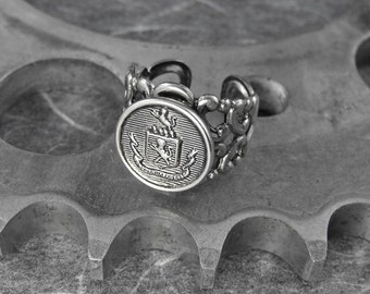 Regal Coat of Arms Silver Filigree Adjustable Ring - Reigning With Royal Virtue by COGnitive Creations