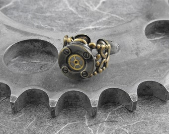 Steampunk Industrial Brass Filigree Adjustable Ring - Nuts and Bolts of Dreams by COGnitive Creations