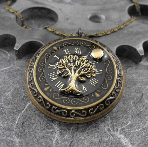 Tree of Time Locket Necklace Golden - Deluxe Tree of Time and Life by COGnitive Creations