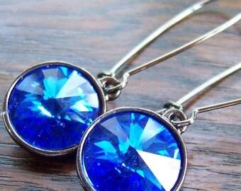 Electric - Sapphire Swarovski Rivoli Crystal Earrings