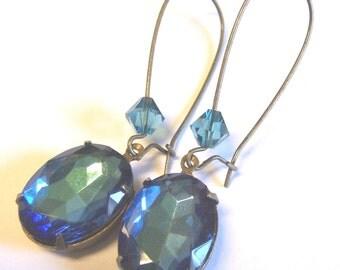 Bermuda Blue Vintage Brass Earrings with Swarovski Crystals
