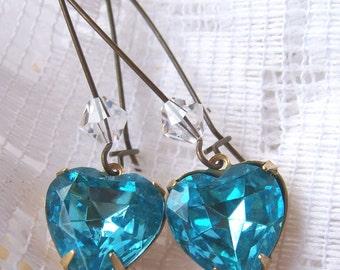 Aqua Heart Jewels Brass Earrings with Swarovski Crystals