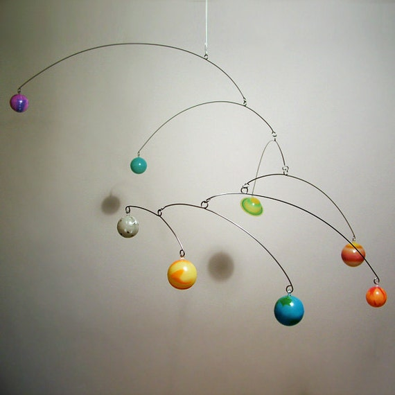 Art Mobile Glow In Dark 8 3D Planets by Julie Frith Childrens Room Decor