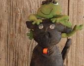 Primitive Halloween  E- Pattern  Folk Art   Cat and Frog