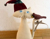 Primitive E- Pattern  Christmas Cat And Cardinal Bird Sewing Pattern