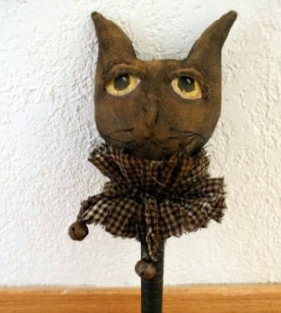 Halloween Cat Bobbin Shaker Ornament PDF  Instant Download E Pattern Primitive Sewing Pattern