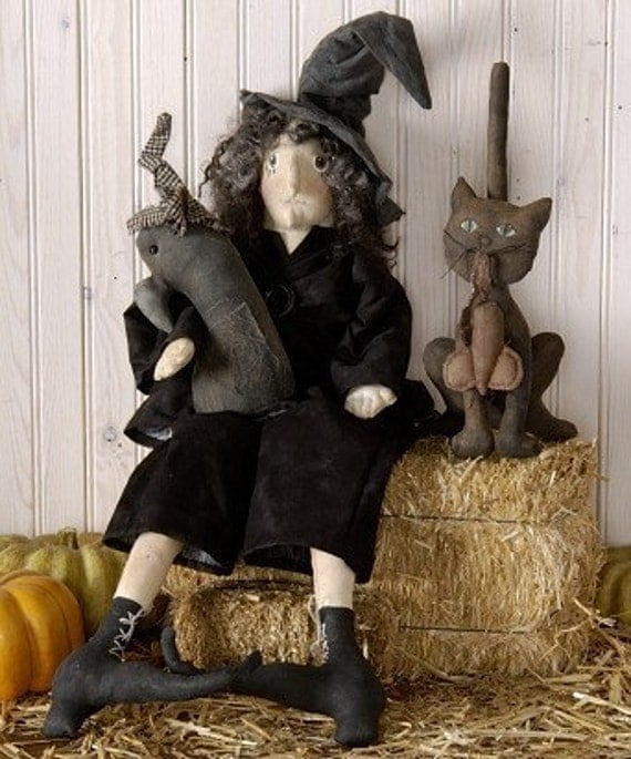 E Pattern Primitive Witch and Crow Doll PDF Instant Download Pattern