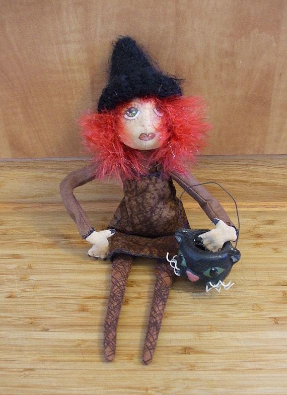 Primitive Halloween or Christmas  Folk Art Witch Art Doll