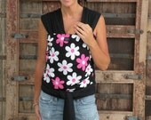 SUPER LIGHTWEIGHT-Baby Wrap Sling Carrier-ORGANIC Bamboo-Maddy on Black-One Size Fits All-DvD Included