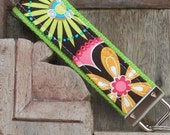 Keychain- Wristlet- Fob Key Chain-Key Fob-Wristlet-Carnival on Lime-Ready To Ship