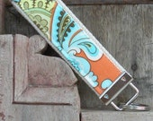 READY TO SHIP-Beautiful Key Fob/Keychain/Wristlet-Wallpaper-Orange
