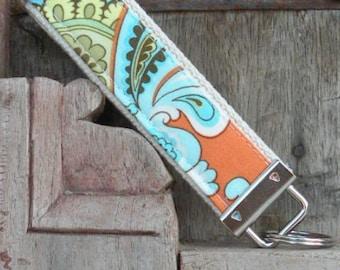 READY TO SHIP-Beautiful Key Fob/Keychain/Wristlet-Wallpaper-Orange