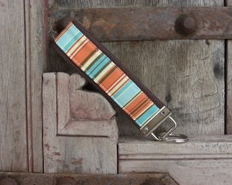 READY TO SHIP-Beautiful Key Fob/Keychain/Wristlet-Blue/Orange Stripes