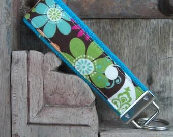 READY TO SHIP-Beautiful Key Fob/Keychain/Wristlet-Wild Flowers on Turq