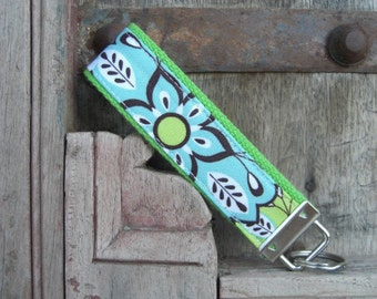 READY TO SHIP-Beautiful Key Fob/Keychain/Wristlet-Floral on Lime