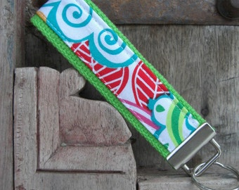 READY TO SHIP-Beautiful Key Fob/Keychain/Wristlet-White Garden on Lime