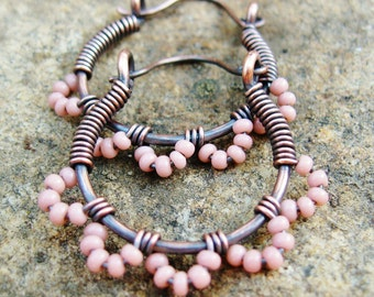 Pink Ruffle Bottom Hoops - seed beaded wire wrapped antiqued copper cuties