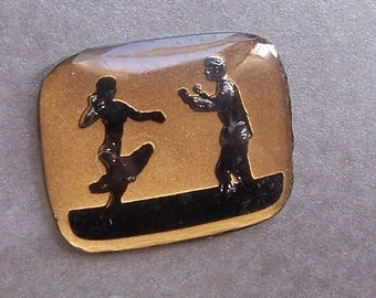 Everybody Dance Vintage Intaglio in Gold and Black 24X22mm Rectangle