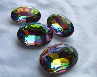 Iridis Vitrail 18x13mm Oval Faceted Glass Jewels 4 Pcs