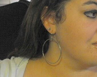 Big round silver hoops, Sterling silver large hammered hoop earrings