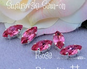 Rare Rose Pink Navette 4231 Swarovski Crystal 15 x 7mm With Prong Setting Crystal Sew On Craft Supplies Jewelry Making