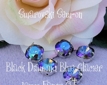 Black Diamond Blue Glacier Swarovski Crystal 12mm Fancy 4470 In Sew On Setting Crystal Sew On Jewelry Making Craft Supply