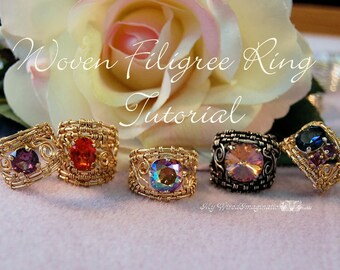 Wire Wrap Ring Tutorial, Wire Woven Filigree Rings, Wire Wrapping Instructions, DIY, How To Make a Wire Wrap Ring, Instructions, PDF File