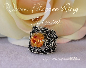 Tutorial Woven Filigree Rings - Wire Wrapping Instructions - Instant Download PDF File