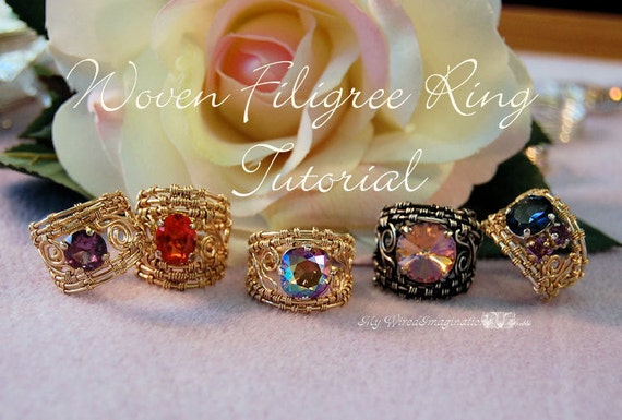 Woven Filigree Rings - Wire Wrapping Instructions - Instant Downloadable PDF File