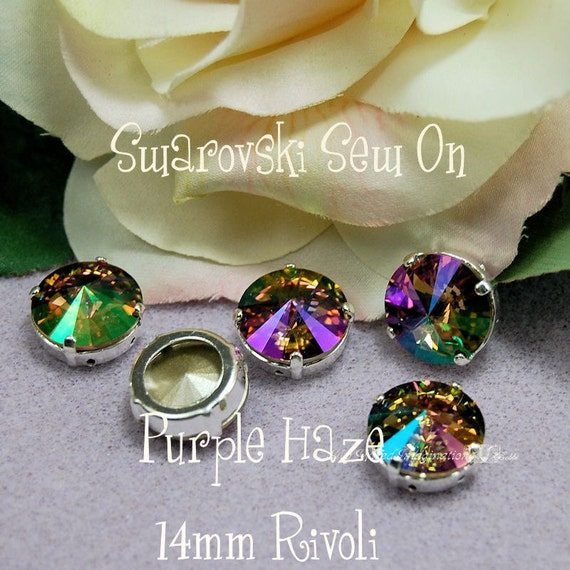 Purple Haze Luster Rivoli 1122 Sew On Swarovski Crystal 14mm With SP Prong Setting Craft Supplies Jewelry Making