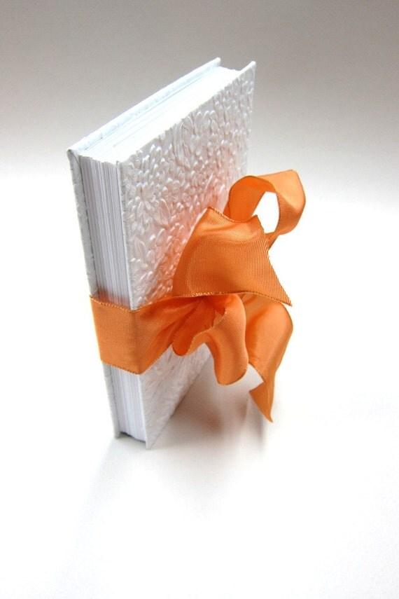 White-Colored Wedding Photo Album/Accordion Book with Orange-Colored Ribbon