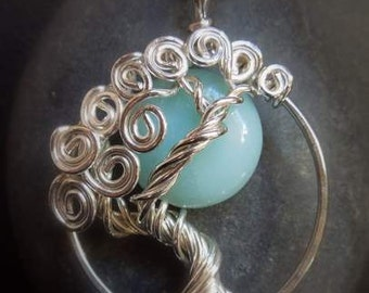Blue Moon Amazonite Tree Of Life Sterling Silver Necklace