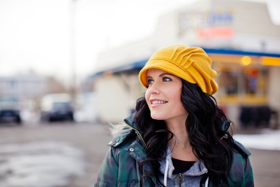 Golden yellow slouch hat