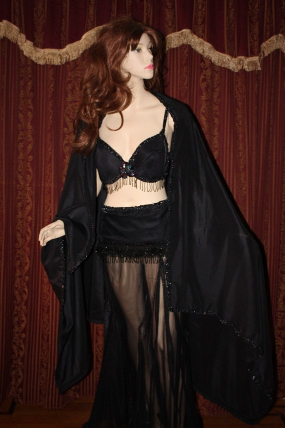 Gothic Black Rose Belly Dance Costume