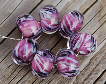 Purple People Pleasers - Set of  7 Encased Lampwork Beads - Dan O Beads