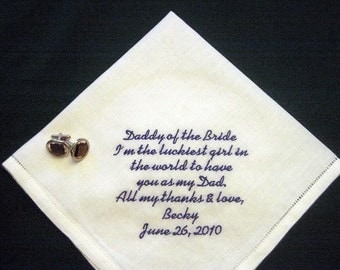 "Father of the Bride Gift, Linen Personalized Wedding Handkerchief, ""Daddy of the Bride"" with Gift Box 79S  includes shipping in the US"
