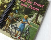 Up the Street and Down, Altered Hardcover Book Journal, Notebook, or Sketchbook