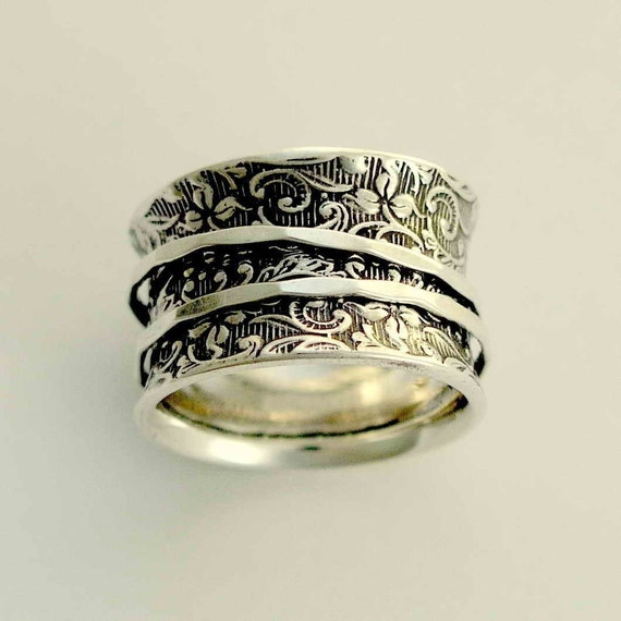 RESERVED FOR AMANDA - Sterling silver band, silver ring, spinners ring, meditation ring, wide band - A way of life 2