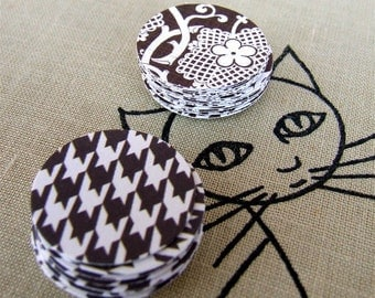 Paper Stickers, Brown and Cream Houndstooth and Lace Sticker Seals, Decorative Envelope Seals, Shop Packaging