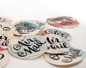 Air Mail Stickers, Package of 20 Airmail Envelope Seals, Vintage Map Calligraphy Stickers