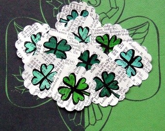 Four Leaf Clover & Heart Stickers, 20 Individually Hand Drawn Sticker Seals, Lucky Shamrocks, Emerald Green Hearts, Repurposed Vintage Paper