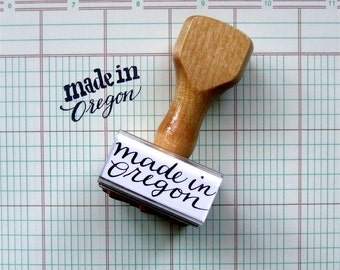 Made in Oregon Stamp, Modern Calligraphy Stamp, Rubber Stamp, Made in Your State Stamp, Hand Lettering Design, Craft Fair Packaging