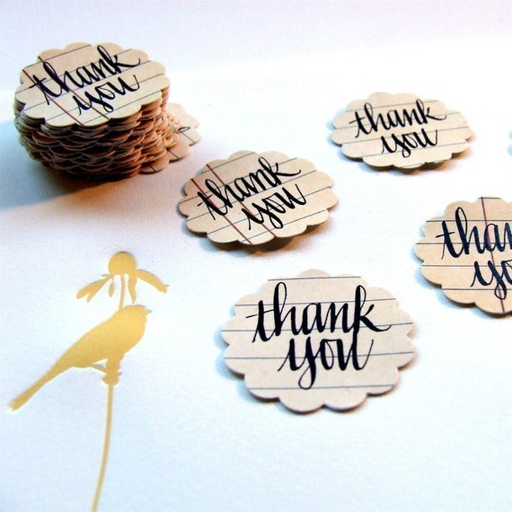 Wedding Thank You Stickers, package of 20 hand lettered thank you stickers, seal your thank you cards with calligraphy