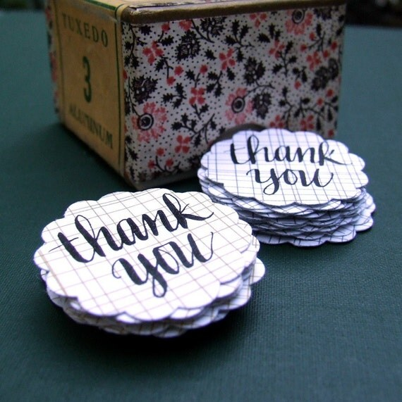 Thank You Stickers, package of 20 mustard gray calligraphy stickers, perfect for wedding thank you notes, Grey Poupon