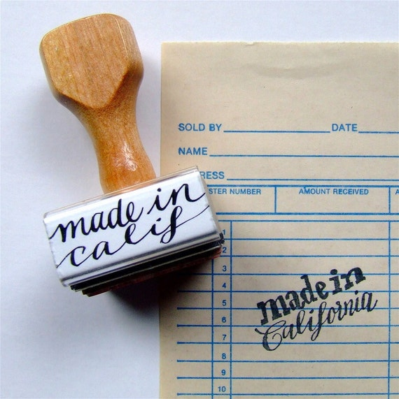 made in California Rubber Stamp, Made in America USA, Choose Your State Calligraphy Stamp, Hand Lettered Stamp