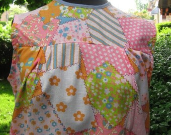 Vintage Mod flower power smock tunic blouse