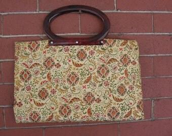 Vintage floral tote purse