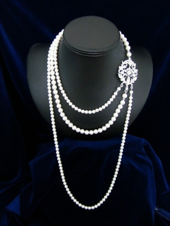 Reserved For Lee  -  Pearl Necklace, Bridal Necklace, Art Deco Long, Rhinestone Brooch - The Isidore