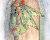 Spring Fairy Art Print - Leafy Green Dress - Secret Garden Princess - Red Poppies