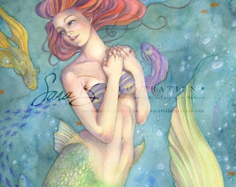 Mermaid Art Print Limited Edition - Princess Mermaid Red Haired Betta Fish
